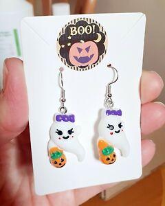 Cute Girl Ghost With Pumpkin Earrings Halloween Spooky Goth Horror Party