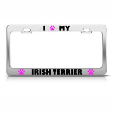 License Plate Frame Irish Terrier Paw Love Dog Car Accessories Stainless Steel