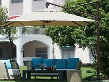 10 ft Rectangular offset Patio Cantilever Umbrella with Cross Base&Storage Cover
