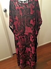 HOT PINK.BLACK BURNOUT VELVET CAFTAN KAFTAN MAXI DRESS  SIZES AU 14-24 US XL/XXL