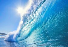 LARGE BEAUTIFUL BLUE WAVE BREAKING SUN TUBE SEA SURF BEACH WALL ART PRINT POSTER