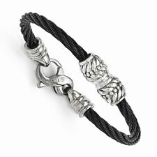 Edward Mirell Titanium Cable Sterling Silver Bead Children's Bracelet,5""