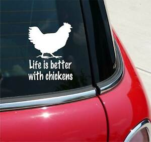 LIFE IS BETTER WITH CHICKENS FARM CUTE FUNNY GRAPHIC DECAL STICKER DECOR