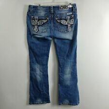 Miss Me Womens Jeans Size 29 Measures 32x30 Signature Boot Low Rise Medium Wash