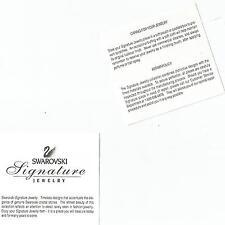 "Swarovski Jewelry Signature Certificate 3 1/4"" x 3 1/4 "" Front And Back"