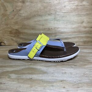 Merrell Leather T-Strap Sandals Around Town Post Print, Wmns Size 11, Sleet Grey