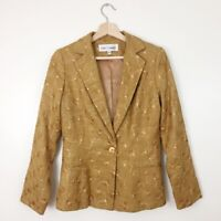 VTG Sara Campbell Blazer Jacket Sz 4 100% Silk Mustard Yellow Gold Embroidered