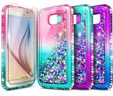 For Samsung Galaxy S6 S7 Edge Active Case Liquid Glitter Cover +Screen Protector