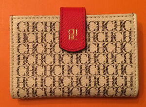 CAROLINA HERRERA MENS $245 WHITE CH LOGO CREDIT CARD CASE NEWWTAG SPAIN