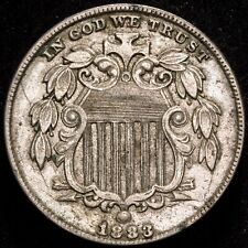 1883 5C US Copper-Nickel Shield Nickel - ABOUT UNCIRCULATED (AU) FREE SHIPPING!