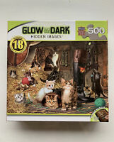 """Glow in the Dark Hidden Images 500 Pieces Jigsaw Puzzle Cats Kittens 21"""" X 15"""""""