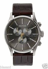 Nixon Original Sentry Chrono Leather A405-1887 Brown Gator 42mm Watch