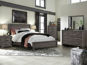 NEW Gray 5PC Queen King Bedroom Set Modern Rustic Brown Furniture Bed/D/M/N/C