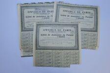 COMPAGNIE GENERALE DES OMNIBUS DE PARIS ACTION DE JOUISSANCE 1925 X 90 ACTIONS