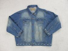 Wrangler Jacket Adult Extra Large Blue Brown Denim Jean Coat Retro Mens 90s *