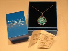 Heritage Gems 925 Silver Gold Vermeil Sleeping Beauty Turquoise Pendant Necklace