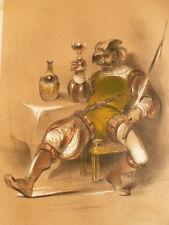 LITHOGRAPHIE FRAGONARD 1840 / L'ANSQUENET  XVIe