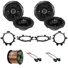 """4x Kicker 6.5"""" 240W 2-Way Speakers w/ Harnesses + Mounting Brackets, Wire"""