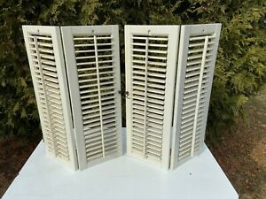 "Vintage Wooden Louvered Shutter Panels Wood Shutters Old Shabby 19 1/8""x 27 1/8"""
