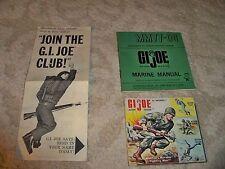 Lot of 3 Vintage 1964 Original G.I. Joe Manual Hassenfeld, Bros.