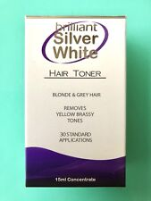 BRILLIANT SILVER WHITE HAIR TONER 15ml Remove Yellow & Brassy Tone POST SAME DAY