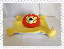 U - Doudou Semi Plat Lion Jaune Brique Bleu Grelot  Althans Club