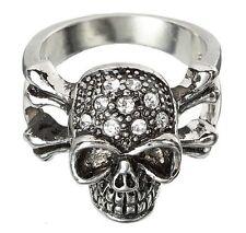 Skull & Crossbones Ring Silver w/ Rhinestones Halloween Goth Ganz Jewelry NEW