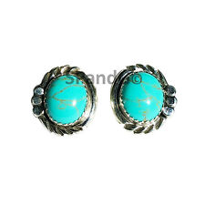 Sterling Silver Navajo Crafted Oval Turquoise Stone Stud Earrings Indian Jewelry