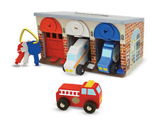 Lock & Roll Rescue Garage Wooden Toy Cars  - Melissa & Doug -NEW