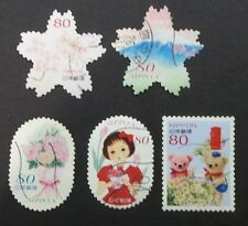 JAPAN USED 2014 SPRING GREETINGS 5 VALUE COMPLETE SET SC # 3645 a - e