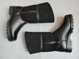 NWB La Canadienne Kosmo Shearling-Lined Suede and Leather Black Boots Sz 7 $260