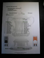 1951 FA Cup Final Newcastle United v Blackpool matchsheet