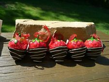 5 Williams Sonoma Chocolate Covered Strawberry Ornaments New 3.25 inch tall