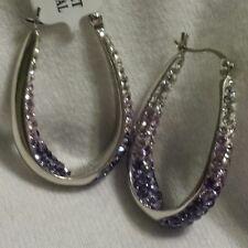 BRAND NEW Purple and White Crystal Hoop Earrings Set in Sterling Silver