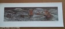 "Alan M Hunt ""The Big Yawn"" Signed Ltd Ed Lithograph Print, Hippos"