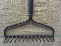 Vintage Iron Garden Rake > Coat Rack Kitchen Antique Farm Old Tool Tools 8854