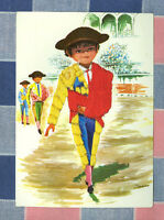Vintage Postcard Reno Spain Embroidered  Young ? Bullfighter  ? 1960's
