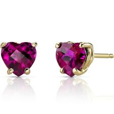 2.19 ct Heart Shape Red Created Ruby Stud Earrings in 14K Yellow Gold