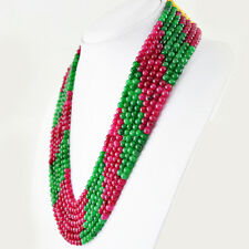 672.50 CTS EARTH MINED RED RUBY & GREEN EMERALD 7 STRAND ROUND BEADS NECKLACE