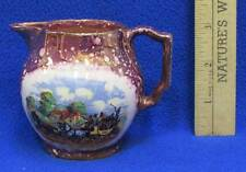Dickens Day Creamer Ceramic Pitcher Pink Speckled Carriage Staff Grays Pottery