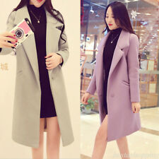 Korean Women Wool Blend Thermal Parka Coat Trench Long Outwear Jacket Blazer XL