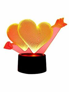 originelle 3D LED-Lampe Herz Romantik Tischlampe Nachttischlampe Mehrfarbenlicht