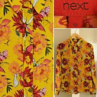 Next Mustard Yellow Print Shirt 10 Insects Bugs Floral L/Sleeve  Blouse Autumn