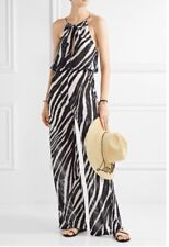 L'Agent By Agent Provocateur Isabell Jumpsuit Zebra Print Chiffon Sheer L Large