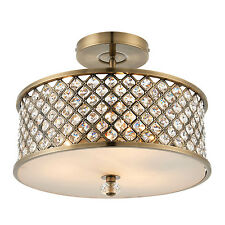 Endon Hudson flush ceiling light 3x 60W Antique brass & clear crystal drops