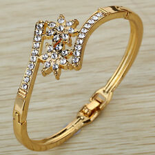 Pretty Gold Plated Crystal Flower Shape Symmetrical Bangle Bracelet Gift Lady