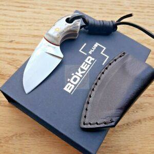"""Boker Plus Gnome Knife 2"""" 440C Stainless Steel Fixed Full Tang Blade Stag Handle"""
