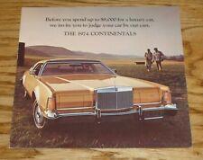 Original 1974 Lincoln Continental Sales Brochure Folder 74 Mark IV