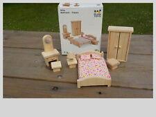 PLAN TOYS Wooden Miniature Dollhouse Furniture Classic Bedroom Set #9016 NIB