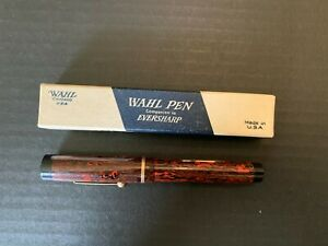 Vintage Wahl Eversharp Miller Fountain Pen Red and Black with 14K Nib In Box